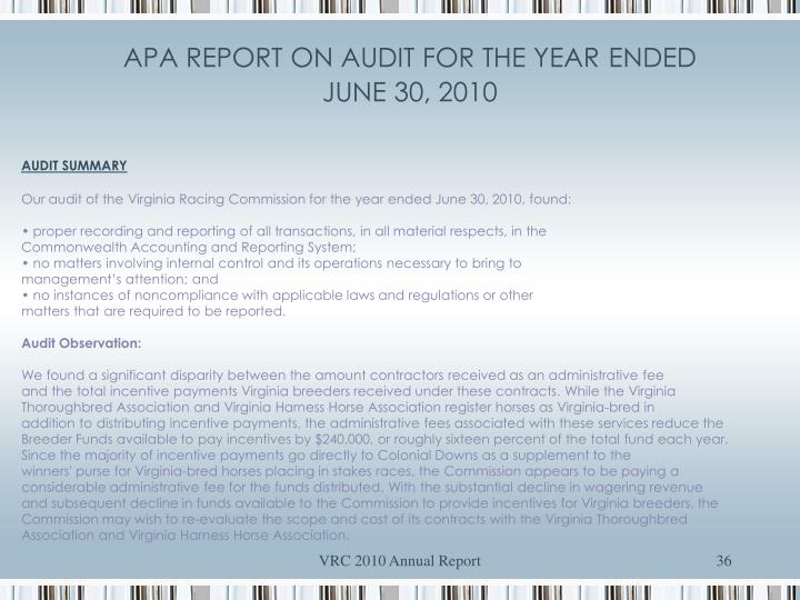 APA REPORT ON AUDIT FOR THE YEAR