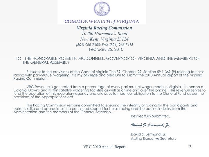 Virginia racing commission 10700 horsemen s road new kent virginia 23124