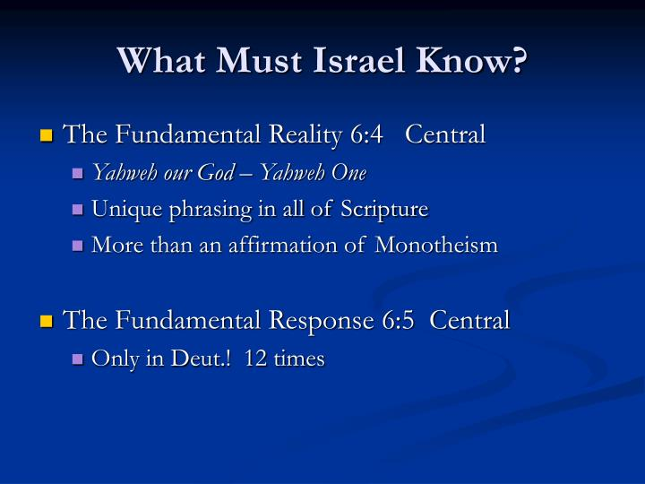 What Must Israel Know?
