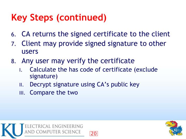 Key Steps (continued)