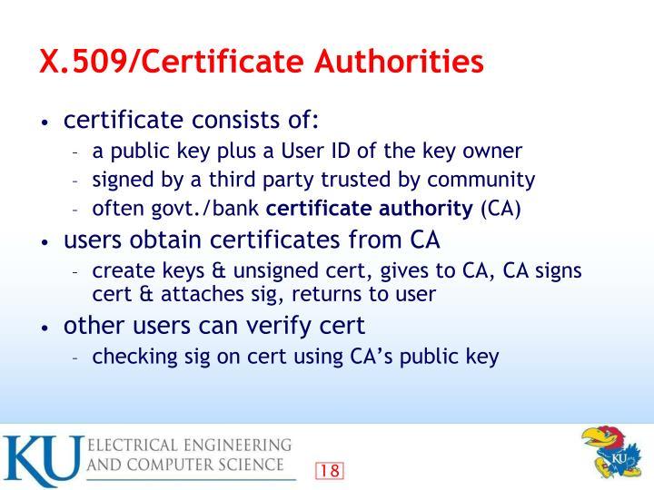 X.509/Certificate Authorities