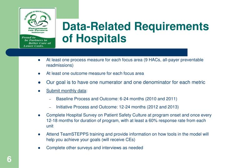 Data-Related Requirements of Hospitals