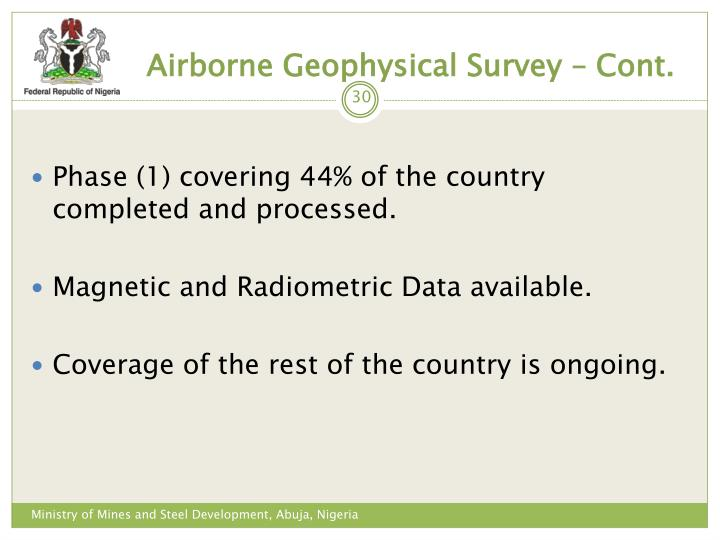 Airborne Geophysical Survey – Cont.