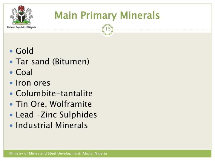 Main Primary Minerals