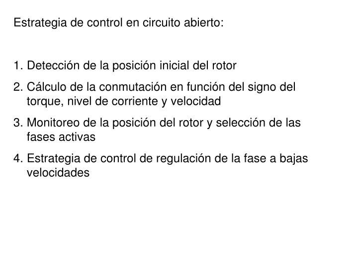 Estrategia de control en circuito abierto: