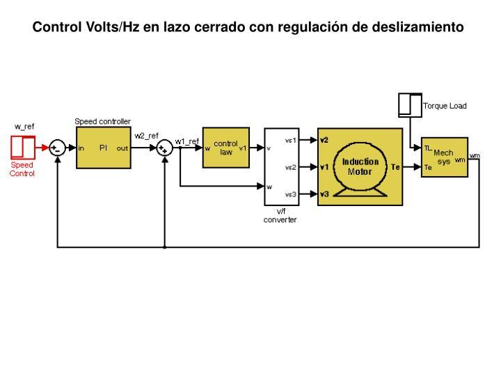 Control Volts/Hz en lazo cerrado con regulación de deslizamiento