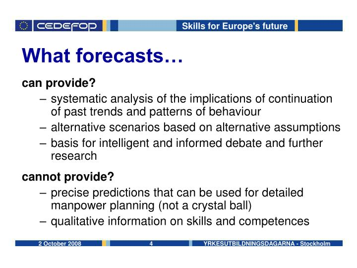 What forecasts…