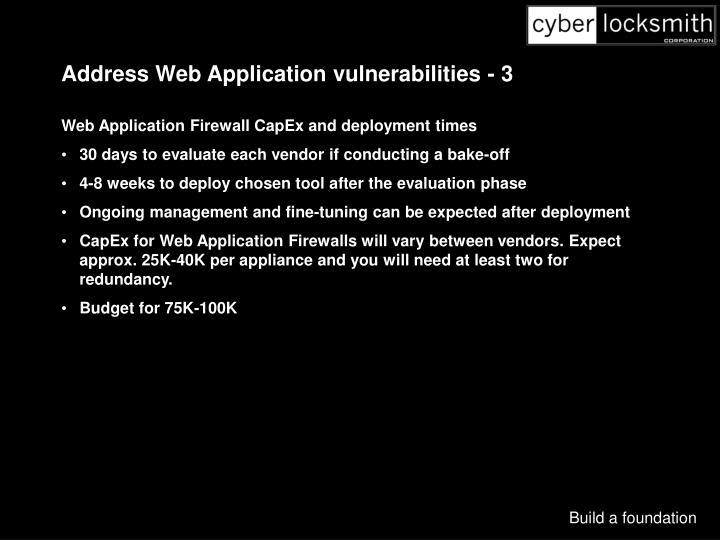 Address Web Application vulnerabilities - 3