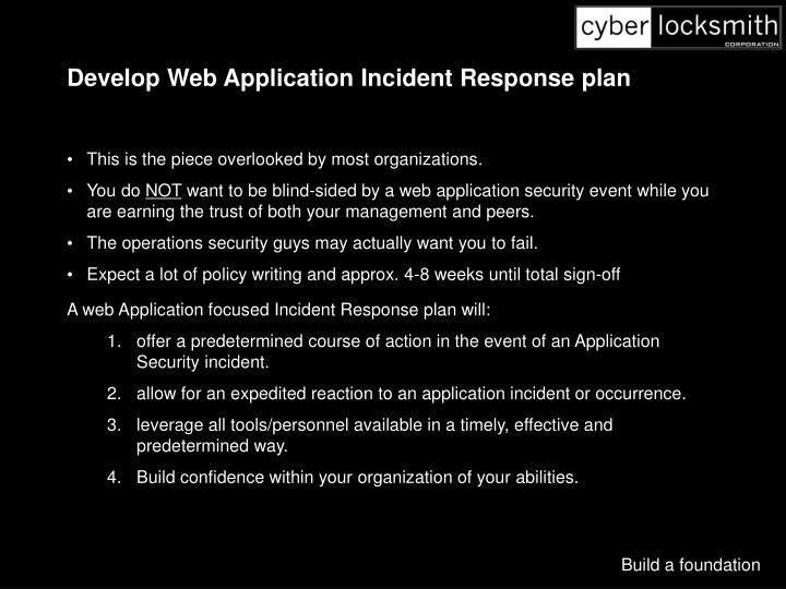 Develop Web Application Incident Response plan