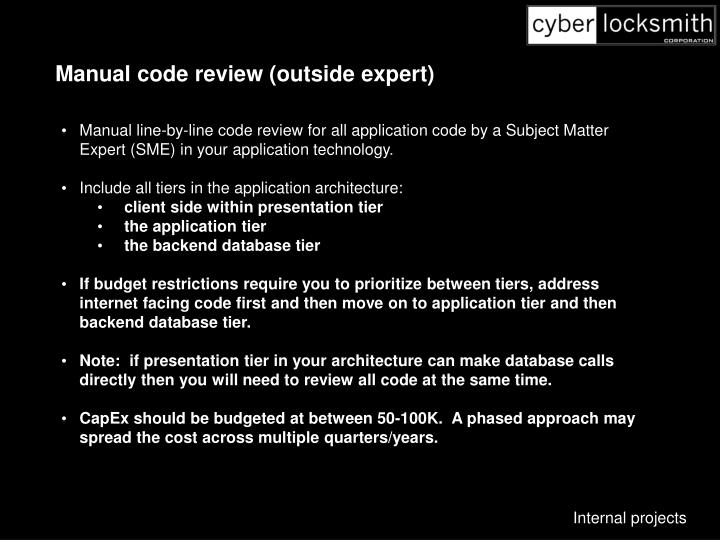 Manual code review (outside expert)