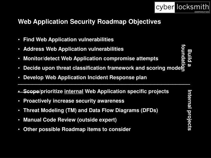 Web Application Security Roadmap Objectives