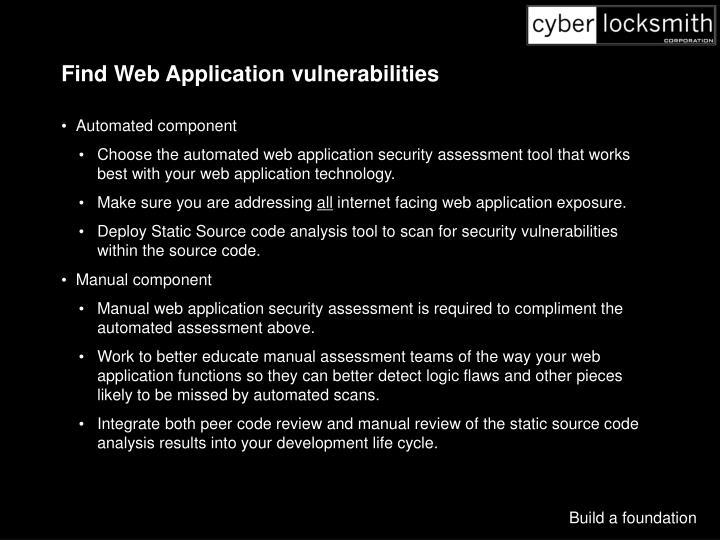Find Web Application vulnerabilities