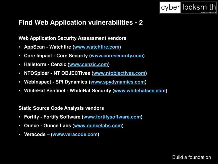 Find Web Application vulnerabilities - 2