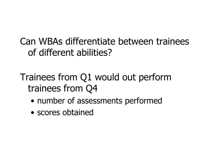 Can WBAs differentiate between trainees of different abilities?