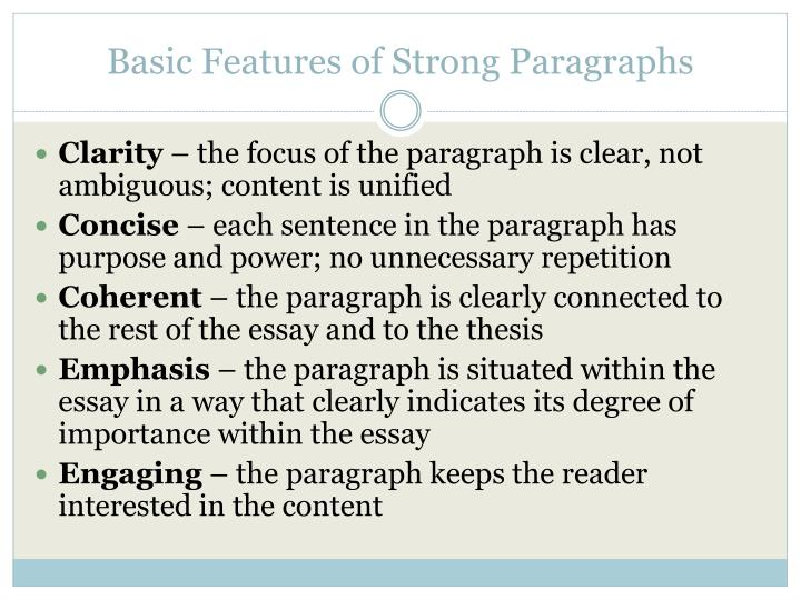 Basic features of strong paragraphs