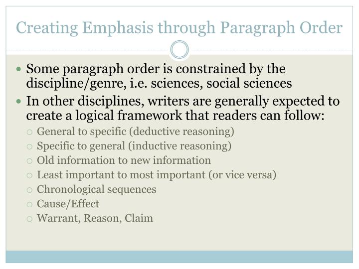 Creating Emphasis through Paragraph Order