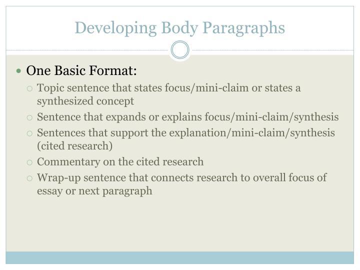 Developing Body Paragraphs