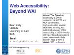 web accessibility beyond wai