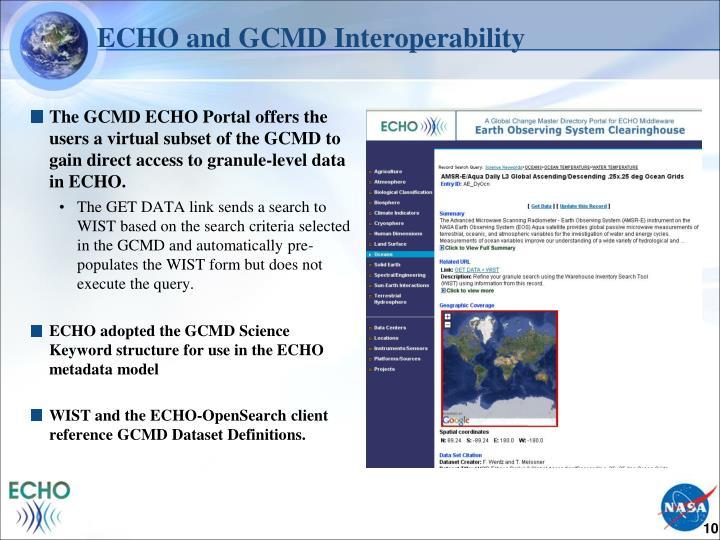 ECHO and GCMD Interoperability