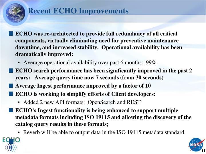 Recent ECHO Improvements