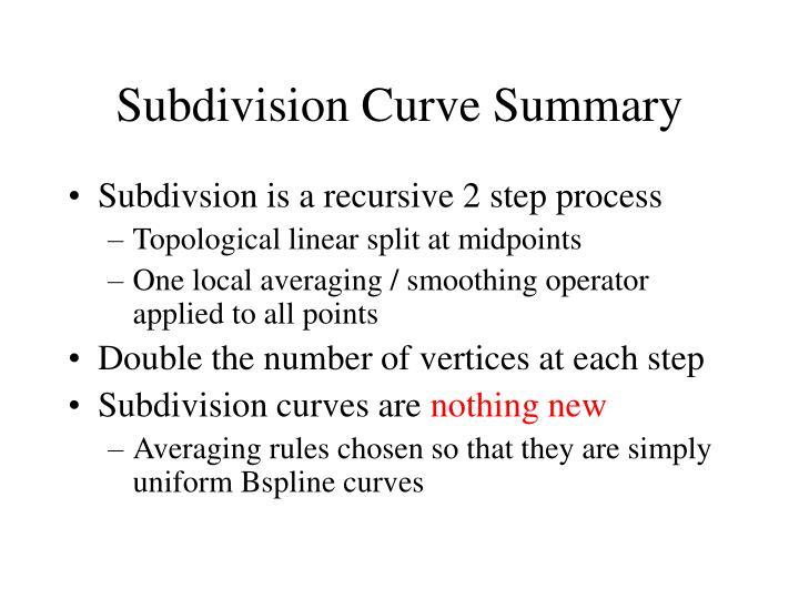 Subdivision Curve Summary