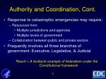 authority and coordination cont