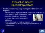 evacuation issues special populations