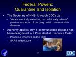 federal powers quarantine and isolation