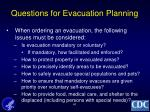 questions for evacuation planning