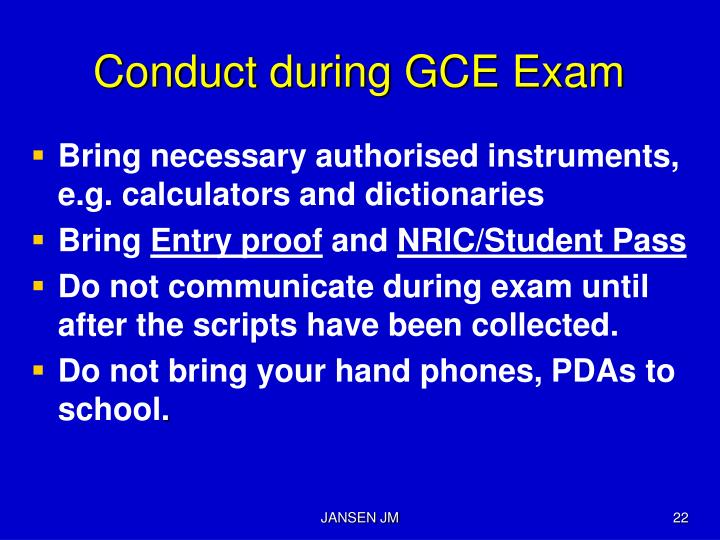 Conduct during GCE Exam