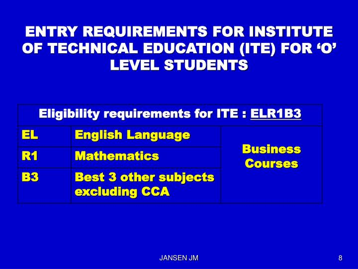 ENTRY REQUIREMENTS FOR INSTITUTE OF TECHNICAL EDUCATION (ITE) FOR 'O' LEVEL STUDENTS