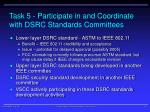 task 5 participate in and coordinate with dsrc standards committees