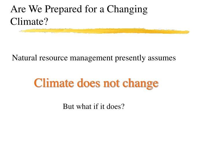 Are We Prepared for a Changing Climate?
