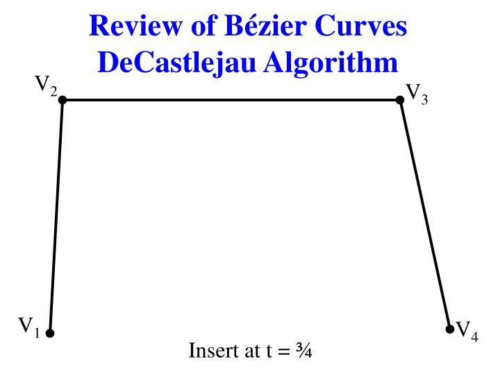 Review of b zier curves decastlejau algorithm