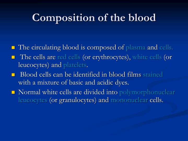 composition of the blood n.