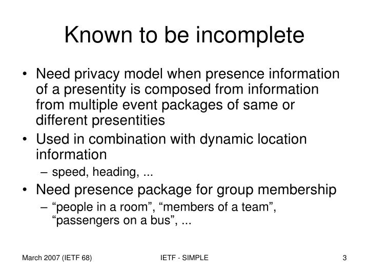 Known to be incomplete