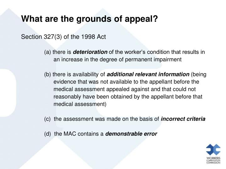 What are the grounds of appeal?