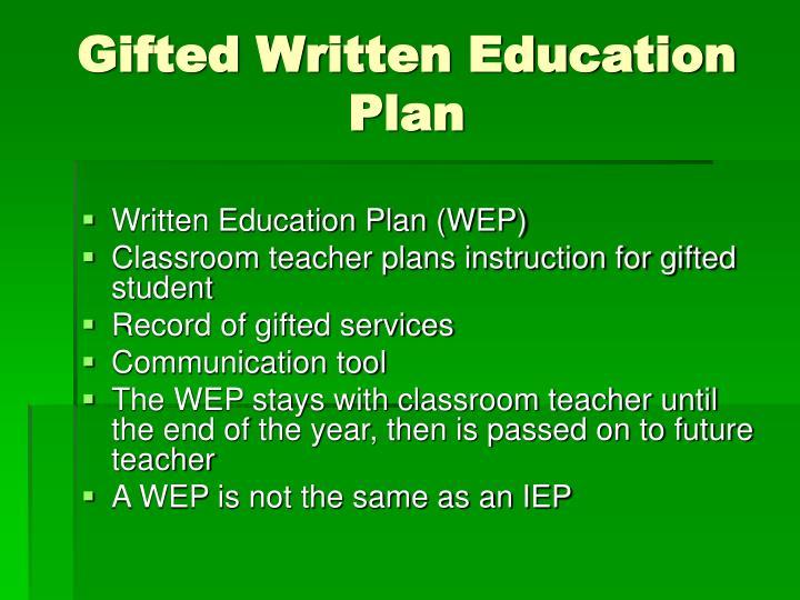 Gifted Written Education Plan