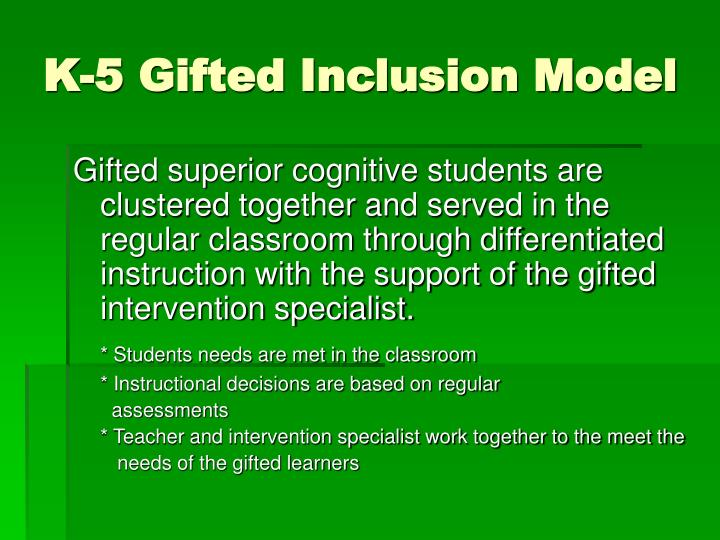 K-5 Gifted Inclusion Model