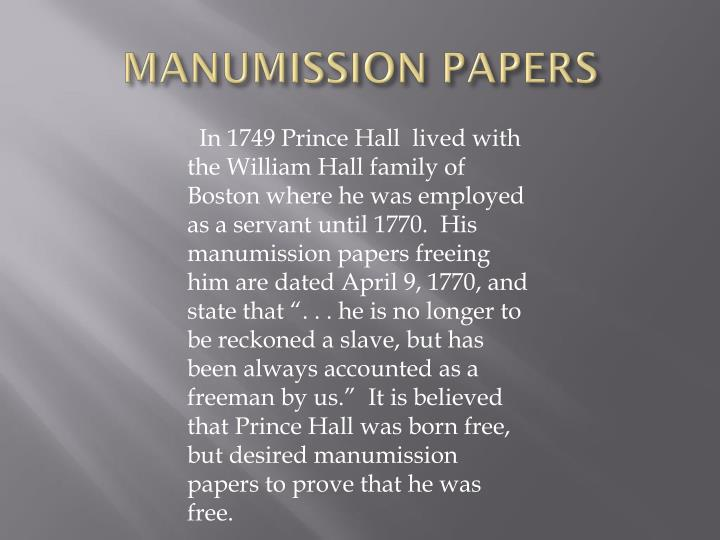 MANUMISSION PAPERS