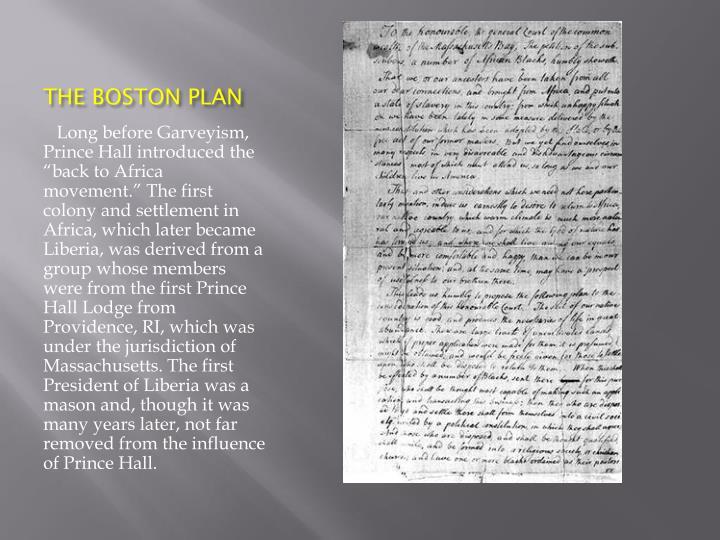 THE BOSTON PLAN