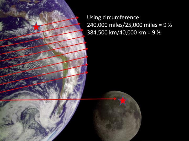 Using circumference: