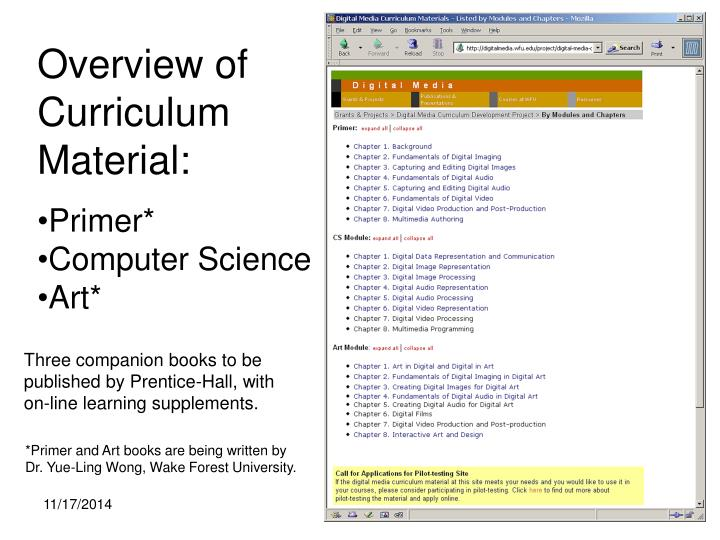 Overview of curriculum material