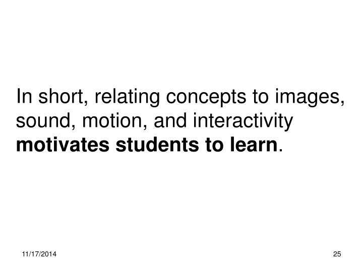 In short, relating concepts to images, sound, motion, and interactivity