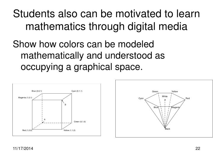 Students also can be motivated to learn mathematics through digital media