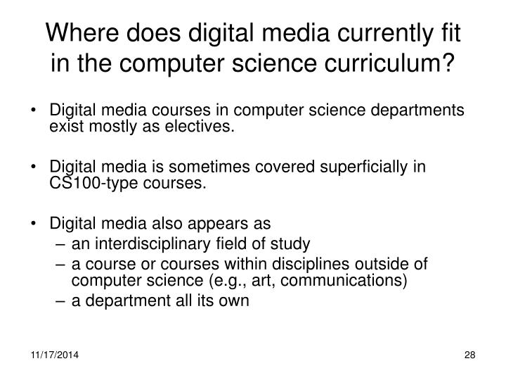 Where does digital media currently fit