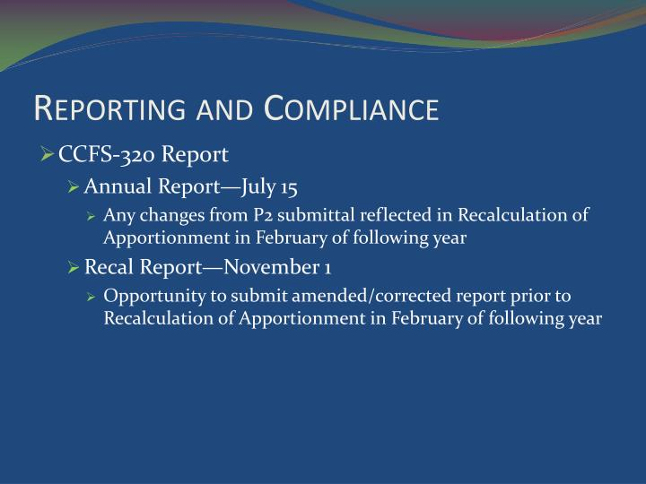 Reporting and Compliance