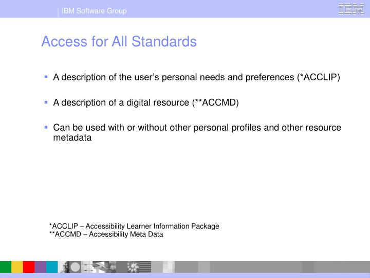 Access for All Standards