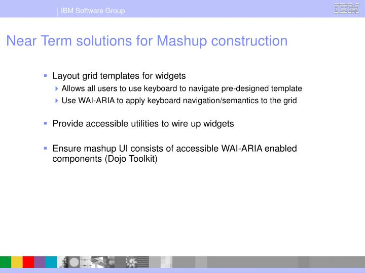 Near Term solutions for Mashup construction