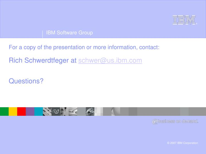 For a copy of the presentation or more information, contact: